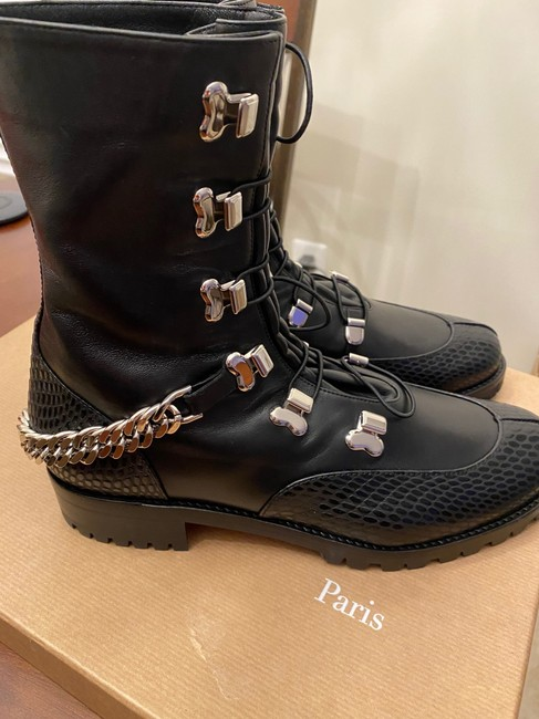Christian Louboutin Black/Silver Horse Gaurda Mixed Leather Combat Boots/Booties Size US 8 Regular (M, B) Christian Louboutin Black/Silver Horse Gaurda Mixed Leather Combat Boots/Booties Size US 8 Regular (M, B) Image 4