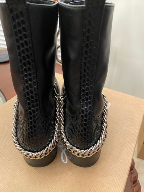 Christian Louboutin Black/Silver Horse Gaurda Mixed Leather Combat Boots/Booties Size US 8 Regular (M, B) Christian Louboutin Black/Silver Horse Gaurda Mixed Leather Combat Boots/Booties Size US 8 Regular (M, B) Image 9