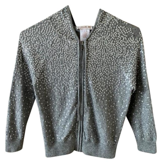 Item - Gray Silver Cropped Sequin Cashmere Sweater Small Sweatshirt/Hoodie Size 6 (S)