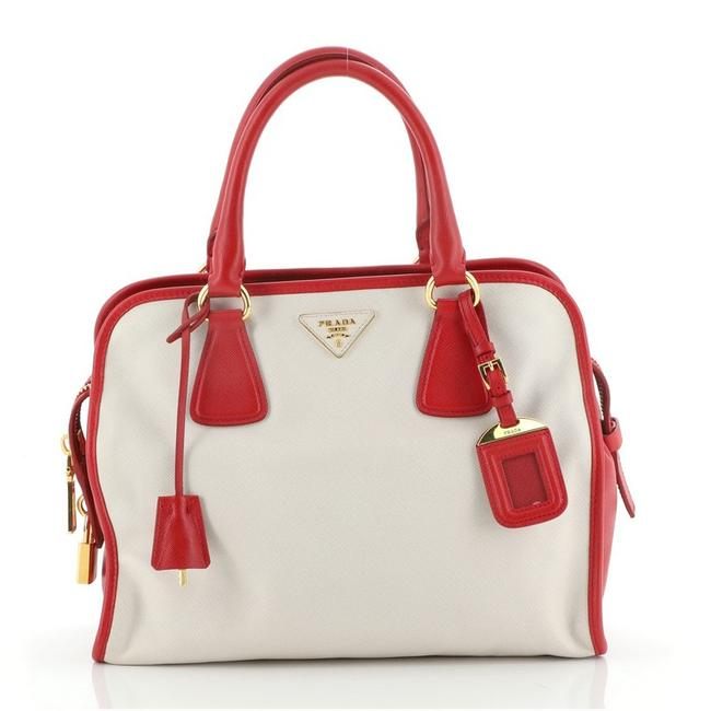 Item - Bicolor Zip Around Saffiano Large Red White Leather Tote