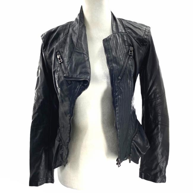 Item - Black XS Faux Fitted Moto Jacket Size 0 (XS)