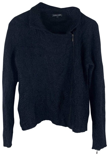 Eileen Fisher Black Mohair Moto Medium Jacket Size 8 (M) Eileen Fisher Black Mohair Moto Medium Jacket Size 8 (M) Image 1
