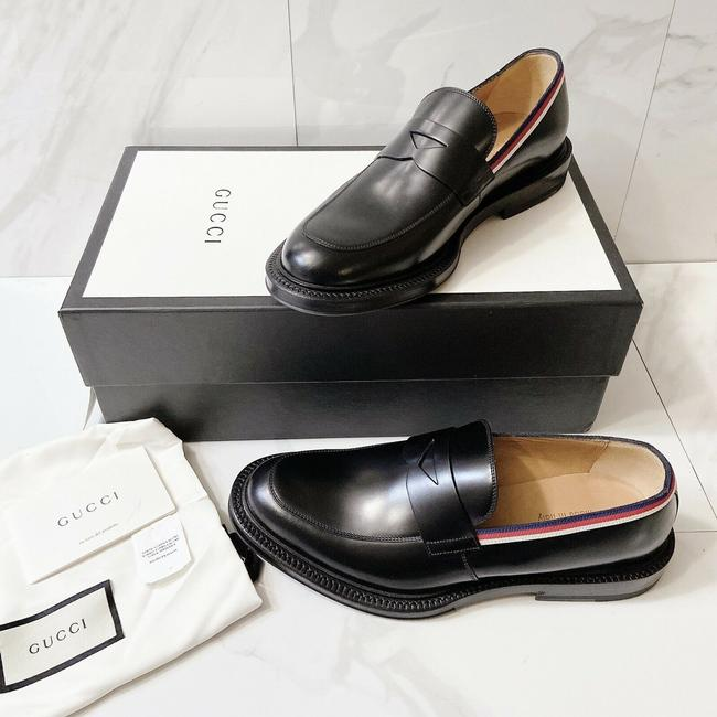 Item - Black Sylvie Shezan Womens Loafer Web Stripe Leather Formal Size US 8.5 Regular (M, B)