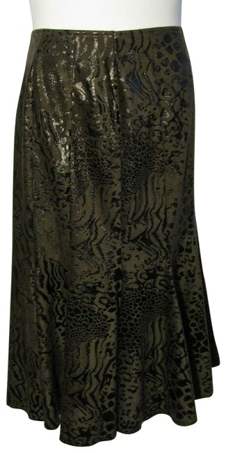 Item - Brown 14 Dark Sueded Animal Print Trumpet Skirt Size 16 (XL, Plus 0x)