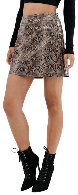 Item - Brown Python Print Faux Leather Skirt Size 4 (S, 27)