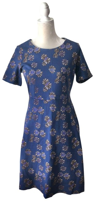 Item - Blue Jersey Printed Stretch Short Casual Dress Size 4 (S)