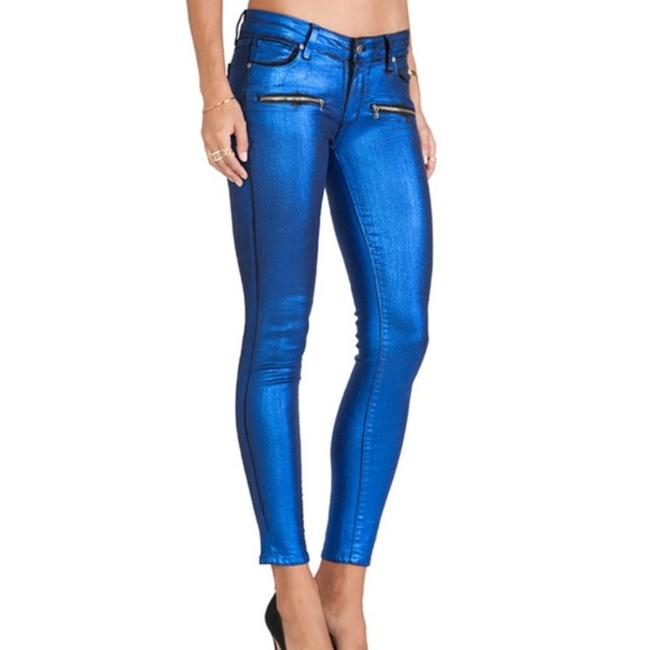 Item - Blue Galaxy Coated Indio Zip Ultra Skinny Jeans Size 27 (4, S)