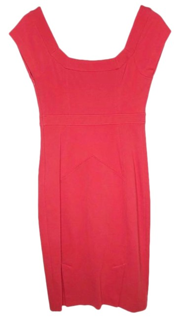 Item - Pink Red New Domina Midi Ponte Bodycon Mid-length Cocktail Dress Size 6 (S)