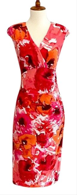 Item - Pink Faux Wrap Watercolor Mid-length Work/Office Dress Size 10 (M)