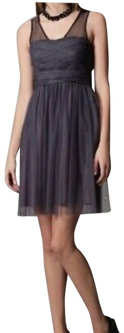 Item - Gray Silk Tulle Cocktail Dress Size 0 (XS)