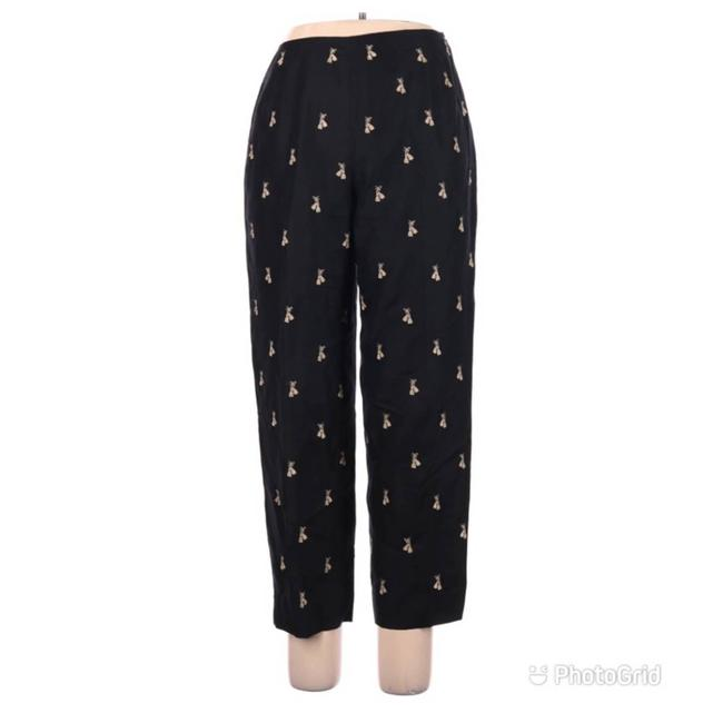 Item - Black Silk Embroidered High Rise Ankle Cigarette Pants Size 12 (L, 32, 33)