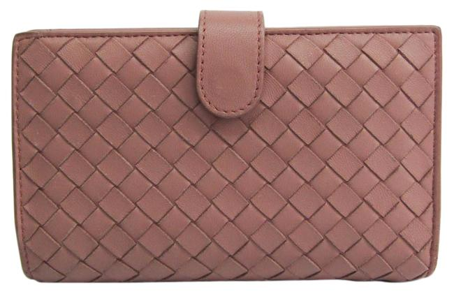 Item - Beige Pink Intrecciato Women's Leather Middle (Bi-fold) Wallet