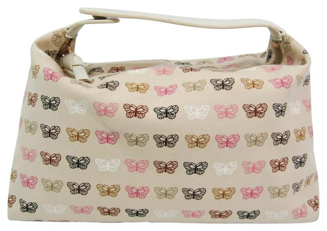 Item - Butterfly Women's Pouch Beige / Cream / Multi-color Leather / Nylon Canvas Clutch