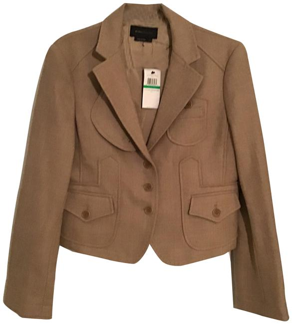 Item - Camel Wool Twill Cropped Jacket Size 12 (L)