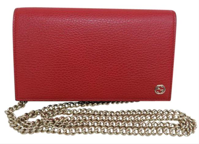 Item - Red Color Chain 466506 Leather Women's Wallet