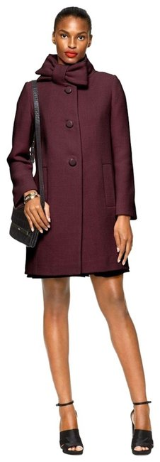 Item - Wine New Neck Bow Wool Winter Coat Size 6 (S)
