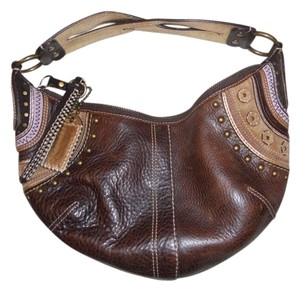 Coach Gold Leather Tribal Hobo Bag