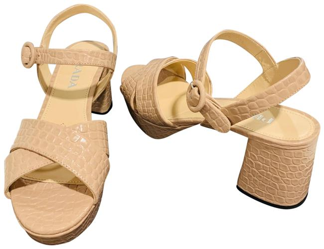 Item - Nude Croc Quarter Strap Embossed Sandals Platforms Size EU 39.5 (Approx. US 9.5) Regular (M, B)