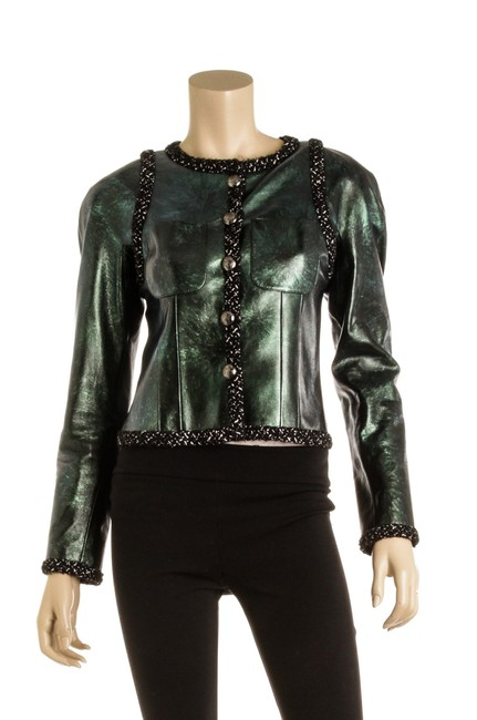 Item - Green Leather And Tweed 502544 Jacket Size 6 (S)