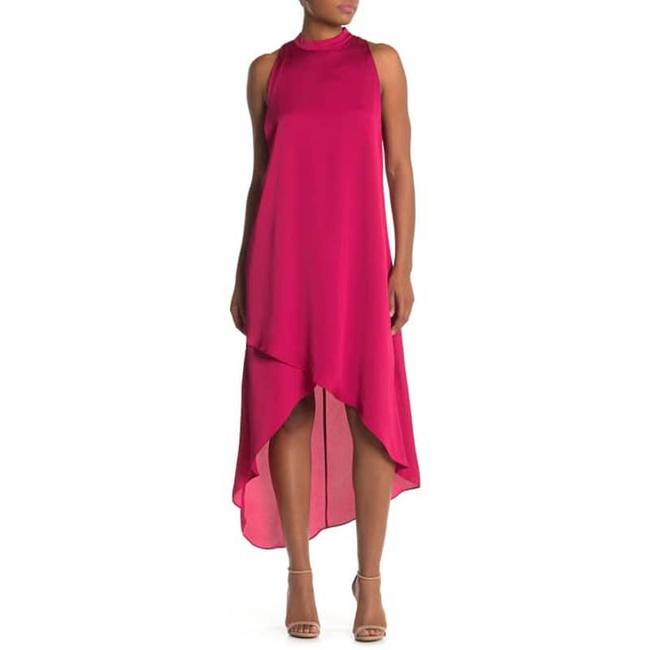 Item - Red Mock-neck Trapeze In Cerise Mid-length Cocktail Dress Size 8 (M)