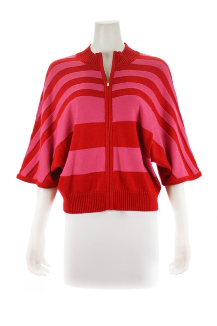 St. John Red Striped Size Medium Pink Sweater St. John Red Striped Size Medium Pink Sweater Image 1