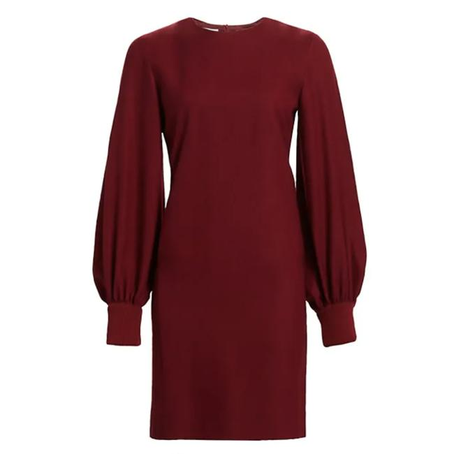 Akris Punto Red Long Balloon Sleeve Wool Shift Mini Short Casual Dress Size 6 (S) Akris Punto Red Long Balloon Sleeve Wool Shift Mini Short Casual Dress Size 6 (S) Image 1