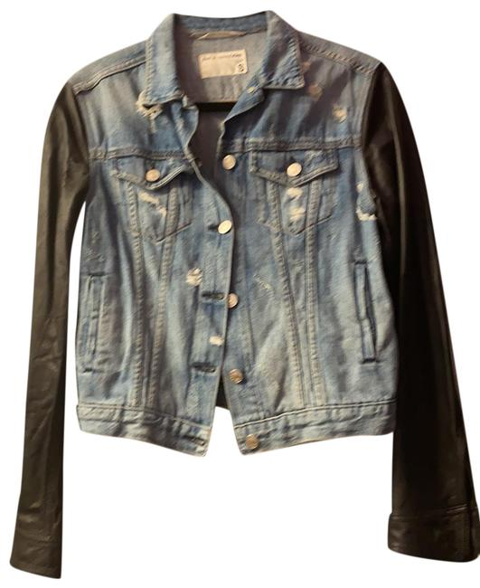 Item - Blue and Black With Leather Sleeves Jacket Size 4 (S)