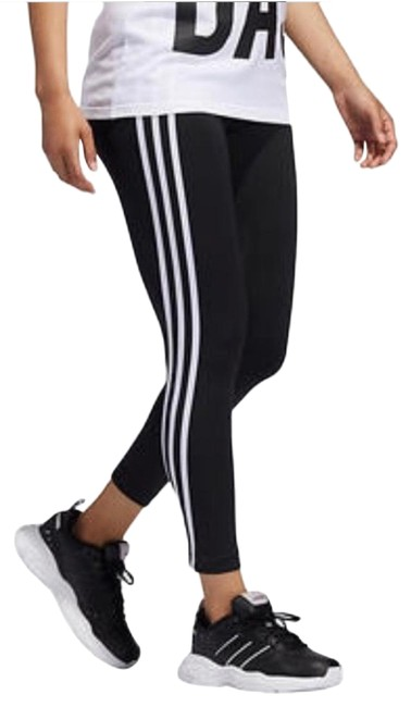 Item - Black High Rise 3-stripe 7/8 Tights Activewear Bottoms Size 0 (XS)