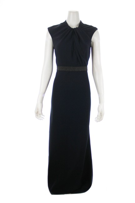 Item - Black Navy Banded Sleeveless Evening Gown Long Night Out Dress Size 6 (S)
