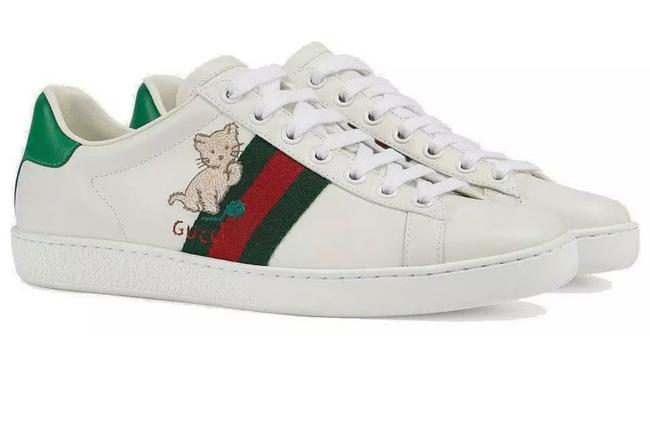 Item - White Web Detail Kitten Embroidery New Ace Ladie's Current Leather 38/Us Sneakers Size US 8 Regular (M, B)