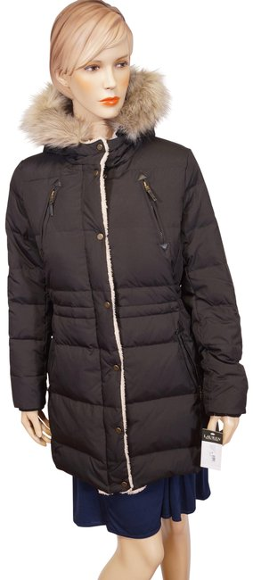 Item - Black Faux Fur Leather Sherpa Hooded Down Quilted Puffer M Coat Size 8 (M)