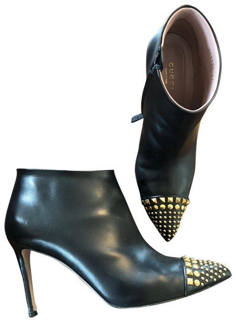 Item - Black Gold Studded Pointy Boots/Booties Size EU 37.5 (Approx. US 7.5) Regular (M, B)
