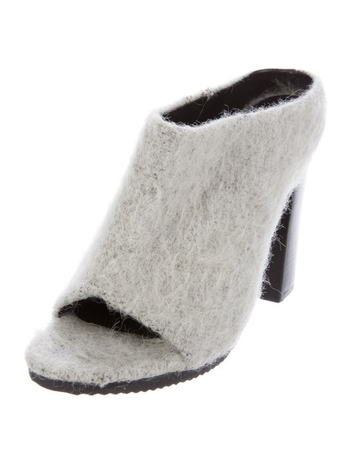 "Item - Ice Gray ""Leona Mohair"" Stacked Block Heel Mules/Slides Size EU 39 (Approx. US 9) Regular (M, B)"