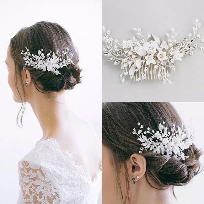 Handmade Girl White Flower Hair Comb Floral White Clear Crystal Leaf Vine Luxury Silver Comb Pin Clip New Tiara Handmade Girl White Flower Hair Comb Floral White Clear Crystal Leaf Vine Luxury Silver Comb Pin Clip New Tiara Image 1
