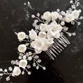 Handmade Girl White Flower Hair Comb Floral White Clear Crystal Leaf Vine Luxury Silver Comb Pin Clip New Tiara Handmade Girl White Flower Hair Comb Floral White Clear Crystal Leaf Vine Luxury Silver Comb Pin Clip New Tiara Image 4