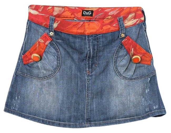 Item - Denim W Red/Gold Silk Trim Dolce & Gabbana Skirt Size 10 (M, 31)