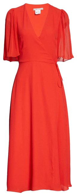 "Item - Red ""True Wrap"" Suri Flutter Sleeve Mid-length Night Out Dress Size 2 (XS)"