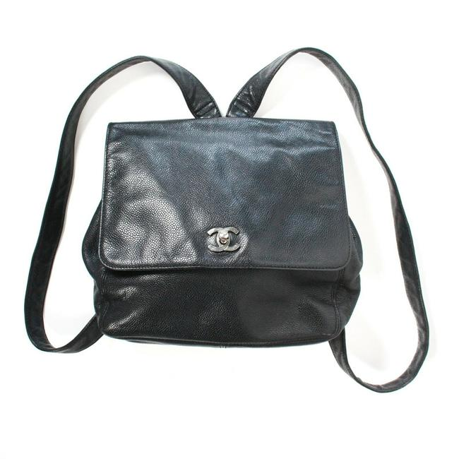 Item - Vintage Caviar Cc Medium Black Silver Leather Backpack