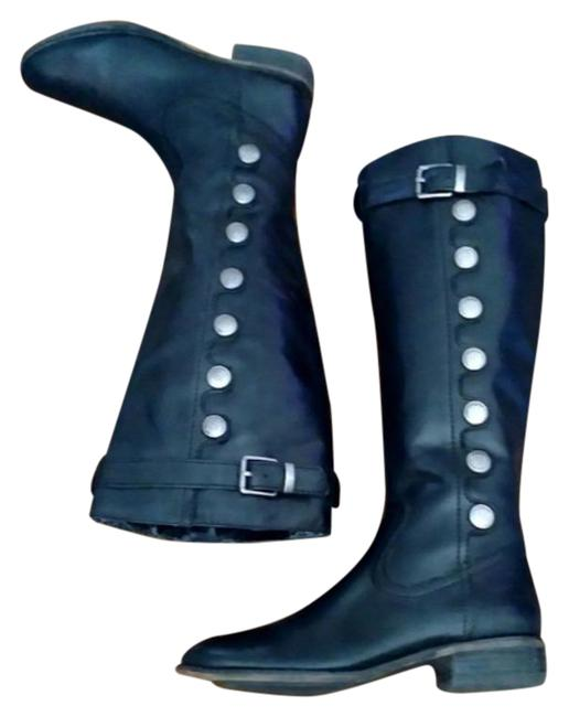 Item - Black Leather Button Accent Boots/Booties Size US 6 Regular (M, B)