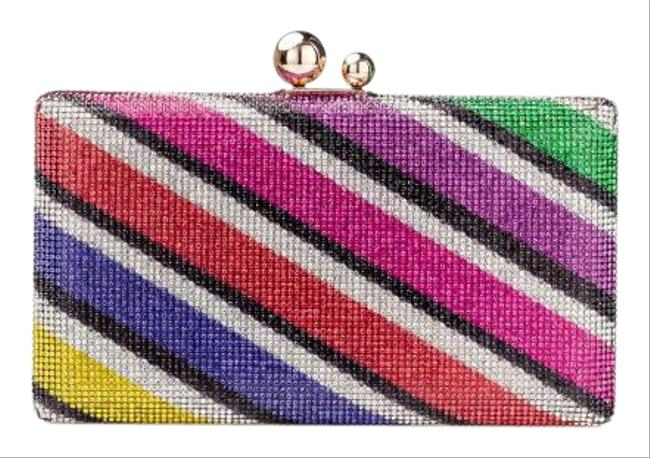 Item - Jamboree Crystal Striped Minaudiere Rainbow Glass Embellishments Synthetic Lining Clutch