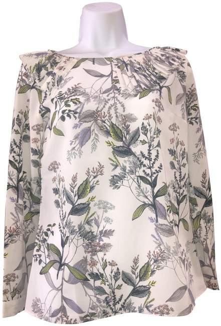 Item - White and Olive Blouse Size 0 (XS)