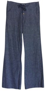 Planet Gold Small Linen Cotton Date Night Night Out Chic Casual Relaxed New Wide Leg Pants Blue