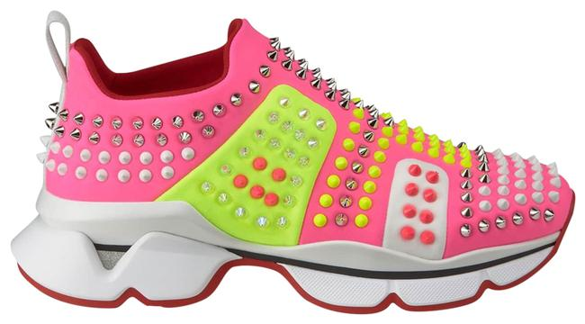 Item - Neon Pink/Neon Yellow Funfor Run Donna Spiked Studded Neoprene Sneakers Size EU 40.5 (Approx. US 10.5) Regular (M, B)