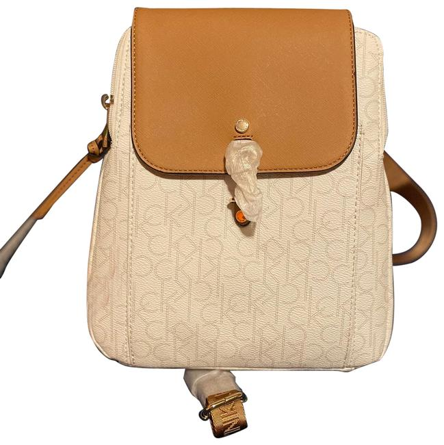 Item - Monogram Tans White and Tan Leather Backpack