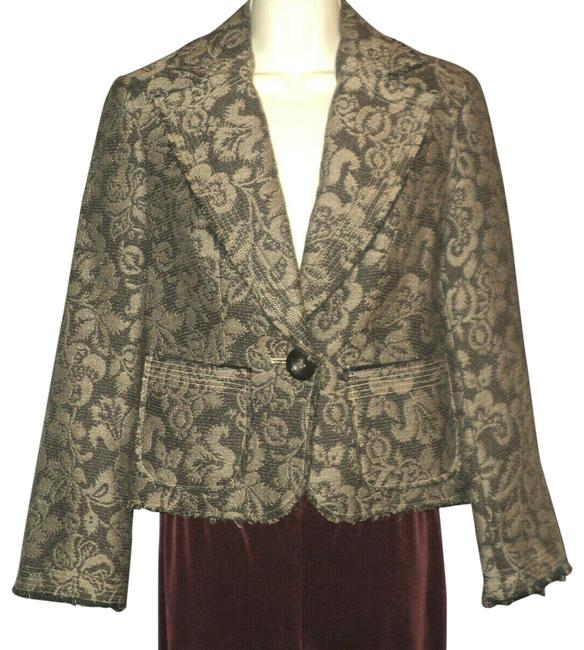 Item - Brown & Tan Buttoned Paisley Fringed Trim Accents Notched Collar Blazer Size 4 (S)