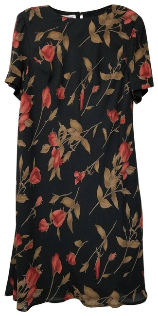 Item - Brown Floral Sleeve A-line Multi Mid-length Short Casual Dress Size 16 (XL, Plus 0x)