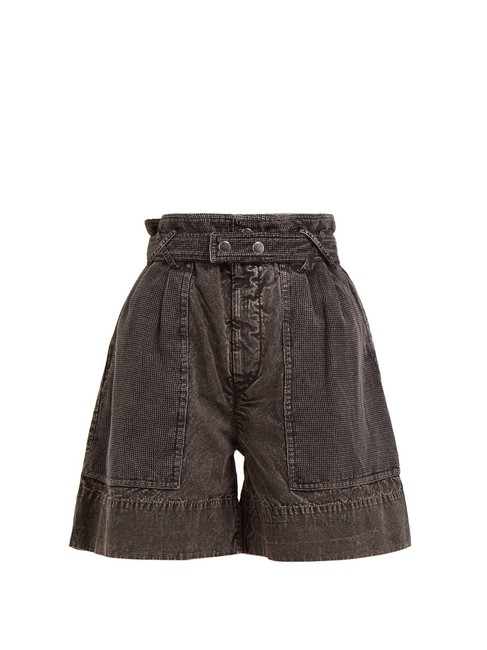 Item - Black Medium Wash Twen Paperbag-waist Washed-denim Denim Shorts Size 12 (L, 32, 33)