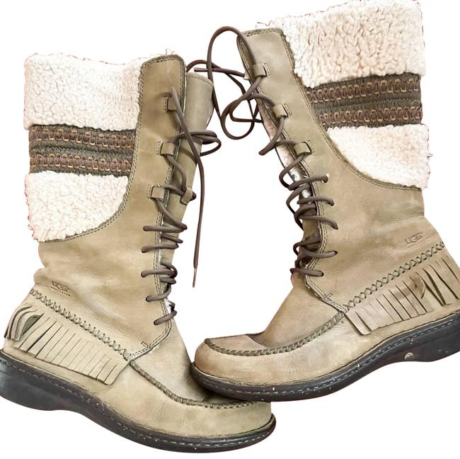 Item - Green Sherpa Lined Long Fringe Olive Boots/Booties Size US 8 Regular (M, B)