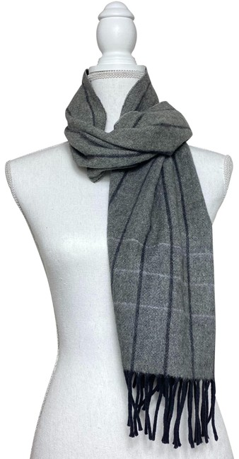 Item - Gray W Womens Reversible Striped Lambswool Cashmere Scarf/Wrap
