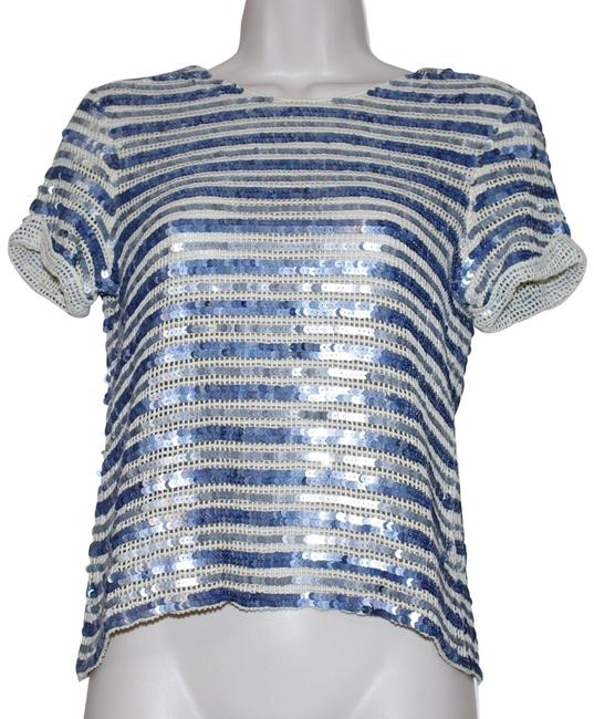 Item - Blue Cream Sequined Short Sleeve Cropped Cotton Striped Blouse Size 2 (XS)
